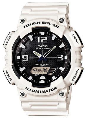 Casio AQS810WC-7AV, Illuminator Combo, Solar Powered, 5 Alarms, White Resin