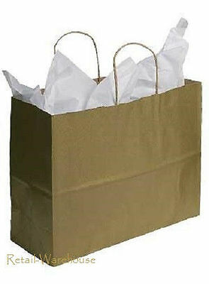 Paper Vogue Shopping Bags 100 Gold Metallic Merchandise Large 16 X 6 X 12