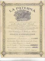Polizza Assicurazione ,la Paterna,1916 -  - ebay.it