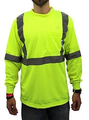Class 2 Max-dry Moisture Mesh Long Sleeve Safety T-shirt Lime Small To 4-xl