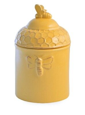 Ceramic Tea Canister (New Rustic Yellow Ceramic Honey Bee TEA CANISTER Jar Crock Honeycomb Lid 7