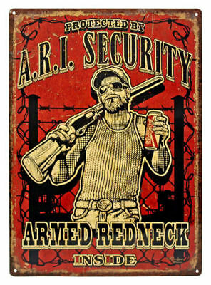 Novelty Rivers Edge Products A.R.I. Security Armed Redneck Tin Sign - Novelty Products