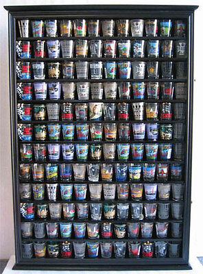 Shot Glass Display Case - 144 Shot Glass Display Case Wall Rack Cabinet Shadow Box LOCKABLE SC16L-BLA