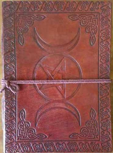 Leather Triple Moon Goddess & Pentagram Embossed Book of Shadows, Journal!