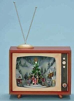 RETRO TV W/ CHRISTMAS TREE & CAROLERS - LIGHTED, Dulcet & ANIMATED DECORATION