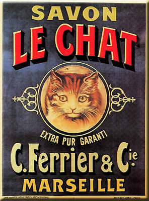French Black Cat Savon Chat Noir Marseille Metal Sign