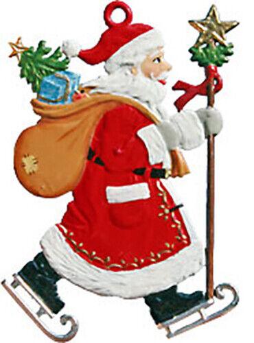 """WILHELM SCHWEIZER GERMAN ZINNFIGUREN Santa on Skates (2"""" x 2.75"""" High)"""