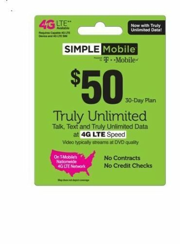 50 SIMPLE MOBILE Refill Reup Gift Card I Will Email You The Service Pin  - $44.00