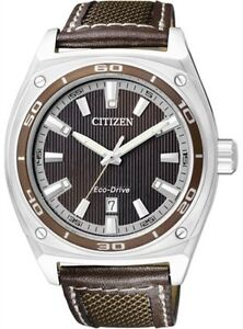 CITIZEN ECO-DRIVE 100m MEN'S BROWN LEATHER SPORTS WATCH AW1051-09W SPECIAL PRICE
