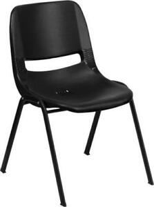 "CHILDRENS HERCULES Series 440 Lb. Capacity Black Ergonomic Shell Stack Chair with Black Frame, 14"" Seat Height NEW"