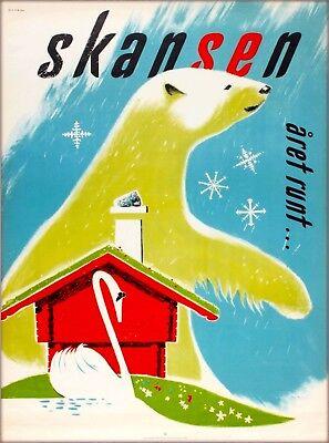 Skansen Zoo Museum Stockholm Sweden Scandinavia Bear Travel Poster Print