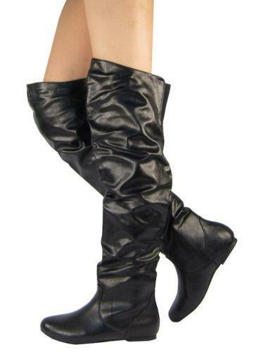 Womens Flat Black Leather Boots | eBay