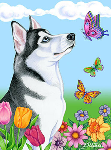 Butterfly House Flag - Siberian Husky 98018