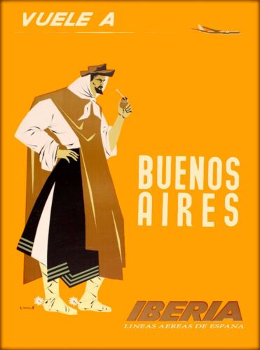 Buenos Aires Argentina South America Vintage Travel Advertisement Poster
