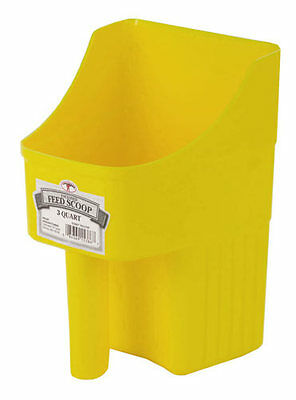 LITTLE GIANT ENCLOSED FEED SCOOP Plastic Measuring Lines Flat Bottom 3qt Yellow Miller Enclosed Feed Scoop