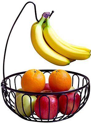 NEW DecoBros Wire Fruit Tree Bowl with Banana Hanger Bronze...