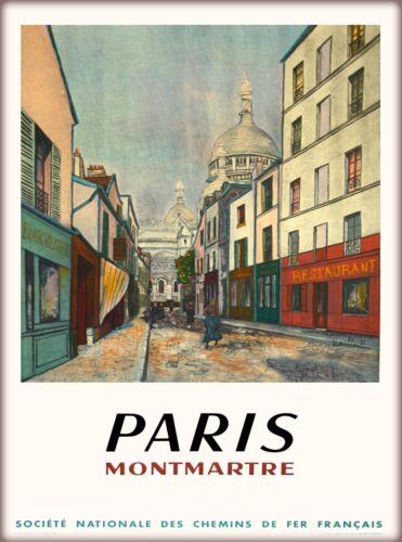 Paris Montmartre France French Vintage Travel Advertisement Art Poster Print