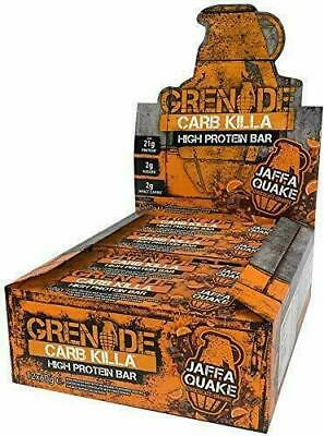 Grenade Carb Killa High Protein Low Carb Sugar Bar Jaffa Quake 12 x 60g