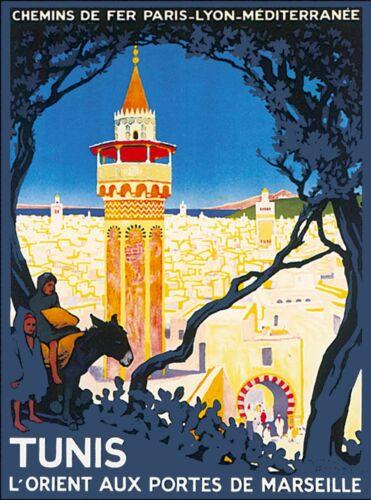 Tunis Tunisia Tunisie Africa African Vintage Travel Advertisement Poster Print