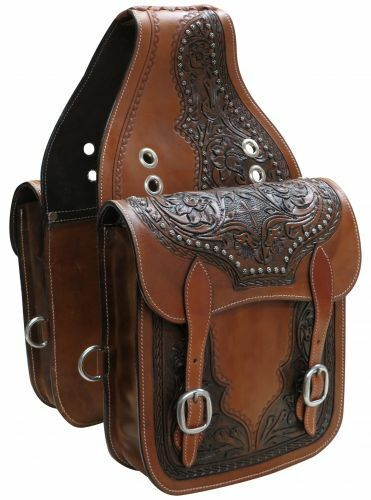 WESTERN HORSE SADDLE BAG OR MOTORCYCLE Features Floral Design Tooled Leather