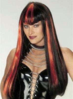 Long Black and Orange Hot Streak Vampire Devil Woman Costume Wig - Hot Vampire Woman