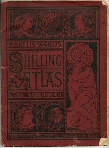 MARCUS WARDS SHILLING 1889 WORLD ATLAS 29 COLOR MAPS USA INDIAN DAKOTA TERRITORY