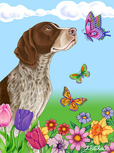 Butterfly House Flag - German Shorthaired Pointer 98049