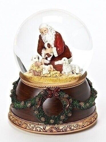 Joseph Studio The Kneeling Santa Musical Silent Night Christmas Water Globe