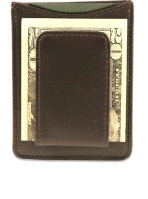 Brown Leather Magnetic Money Clip Credit Card Card Holder Wallet