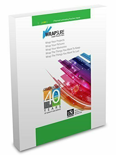 """USI WrapSure Thermal (Hot) Laminating Pouches Letter Size 3 Mil 9x11.5"""" 200-Pack"""