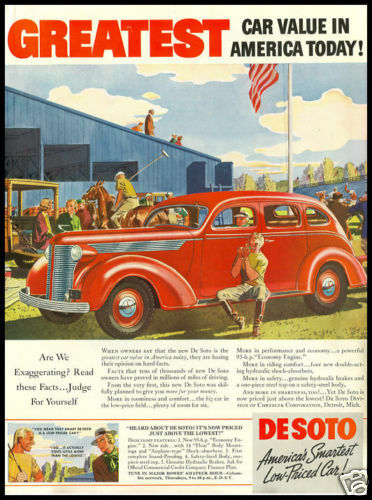 1937 vintage ad for DeSoto Automobiles
