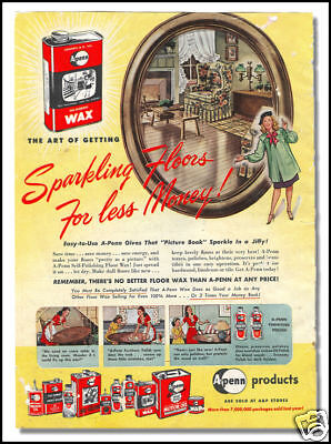 1947 A-Penn floor care products vintage ad