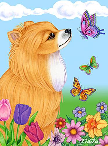Butterfly Garden Flag - Pomeranian 980131