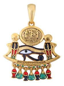 EGYPTIAN-TRIAD-EYE-OF-HORUS-COBRA-PENDANT-NECKLACE-ELEGANT-EGYPT-JEWELRY-NICE