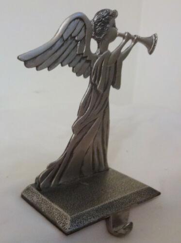 Vintage Heavy Solid Pewter Christmas Angel w Flute Stocking Mantel Hook Holder