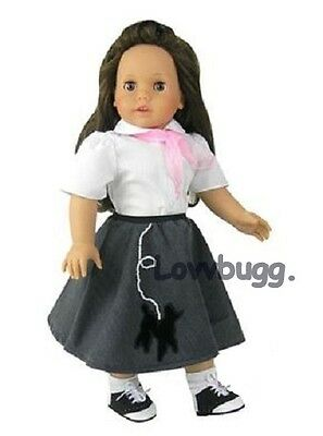 "Lovvbugg 3 pc Pearls Leach Poodle Skirt Set for 18"" American Girl Doll Clothes"