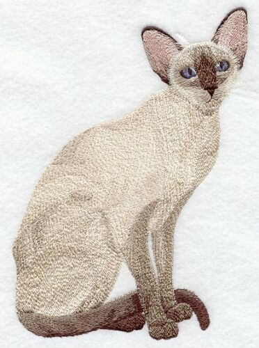 Embroidered Fleece Jacket - Chocolate Point Siamese Cat C7925 Sizes S - XXL