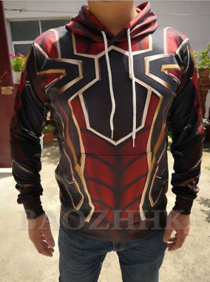 Spiderman Hoodie Mens (US SHIP Avengers Infinity War Spiderman Hoodie Iron Spider-man Coat Jacket)