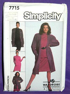 Uncut Simplicity Jiffy Misses 16-20 Knit Dress, Top, Skirt, Jacket Pattern 7715