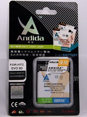 Lot of 50 Andida Battery 2000mAh for HTC Stupefy 4G / HTC Evo 3D EVO3D