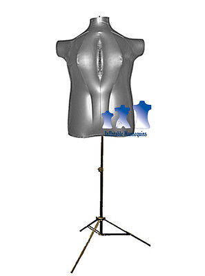Inflatable Female Torso Plus Size 2x With Ms12 Stand Silver