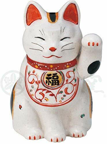 Pottery Manfuku Arabesque Cat Left Hand Lifted