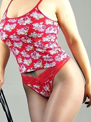 Stretch Cotton Floral 3 Colors Camisole w Lacy Thong Panties pajama set S or M Camisole Thong Set