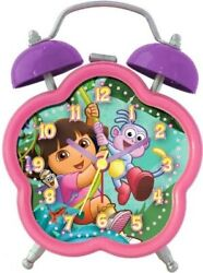 Dora The Explorer Twin Bell Alarm Clock, Uses 1 AA Battery, Flower Shaped Case