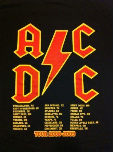 AC/DC Black Ice2008/09 Concert T Shirt Lg Mint Original RARE PRINT