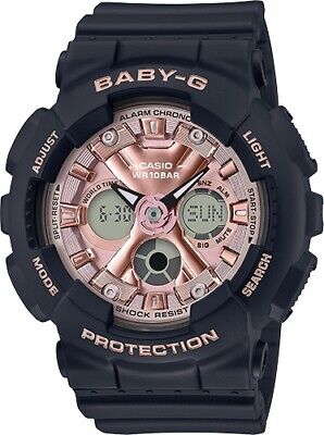 Casio Baby-G * BA130-1A4 Anadigi Rose Gold & Black Resin Watch for Women
