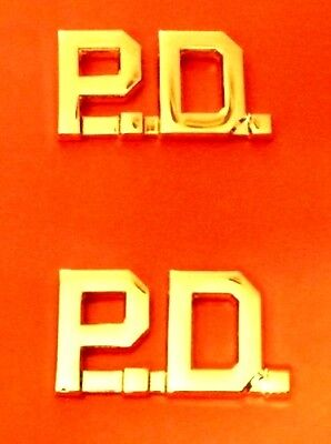 pd collar pin set cut out letters police department gold plated 2410 new