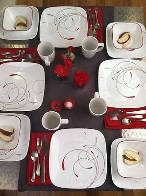 Corelle Square 16 Piece Set Plates Bowls Mugs Serving 4 Dishes Cups dining set