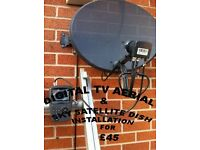 Fully fitted satellite dish and Digital TV Aerial