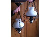 Pair of Vintage Chandeliers Italian Rustic Metal Glass Lighting Light Fitting